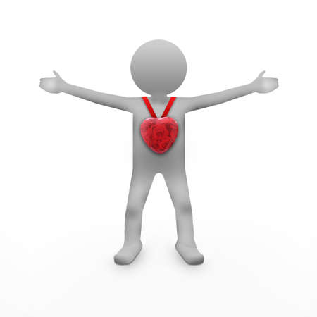 Man and red glossy heart photo
