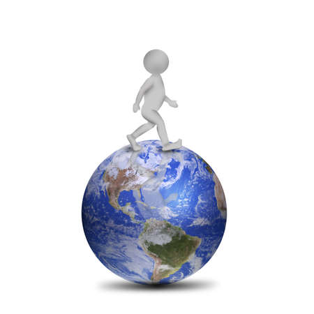 3D man on planet Earth Stock Photo