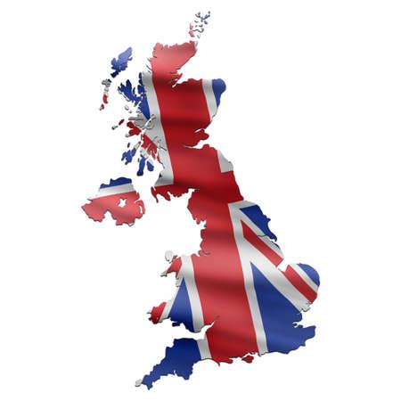 uk map: UK Map with British Flag Stock Photo