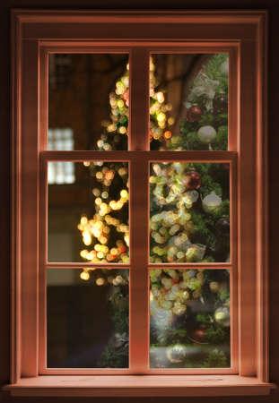 christmas cabin: view through the window, christmas