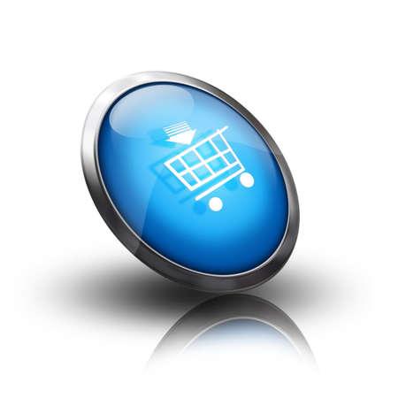 blue shopping cart icon photo