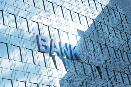 bank building: Building and sign bank Stock Photo