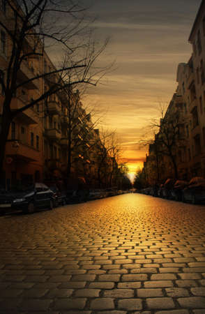 cobblestone: Cobblestone street at sunset