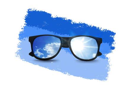 wayfarer: black sunglasses with blue sky reflection Stock Photo