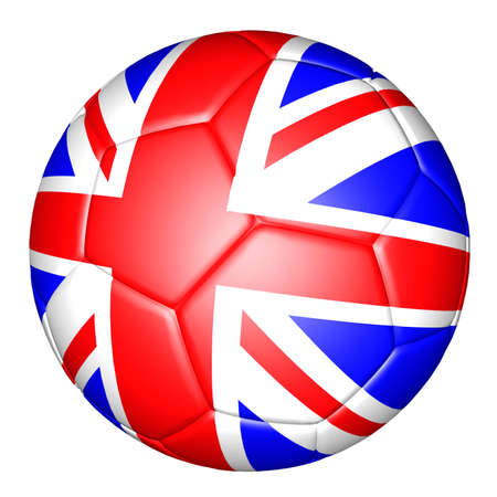 soccer ball with the national flag of Great Britain