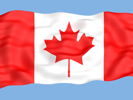 spangled: Flag of canada waving in the wind