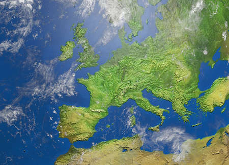 Shaded relief map of europe Stock Photo