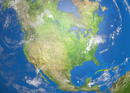 relief map of nord america
