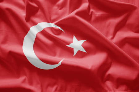 crescent: Closeup of  Flag of turkey Stock Photo