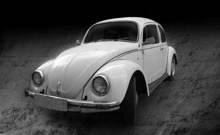 Beetle vintage car black and white Editöryel
