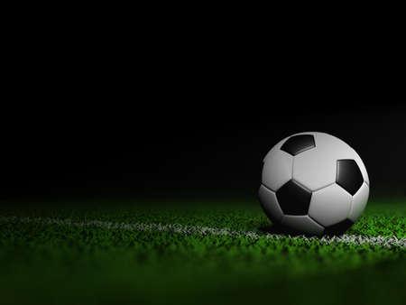 soccer field: Soccer football on grass field