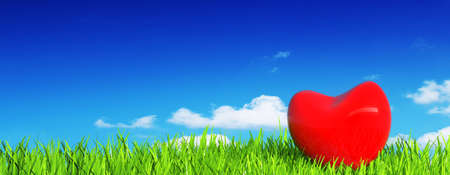 a red heart on green grass