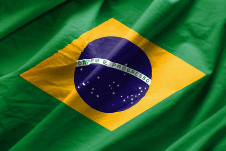 Closeup of Flag of brazil Stock Photo