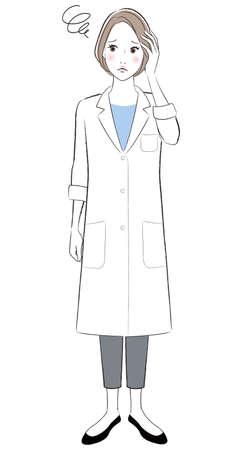 A doctor woman wearing white lab coat having headache