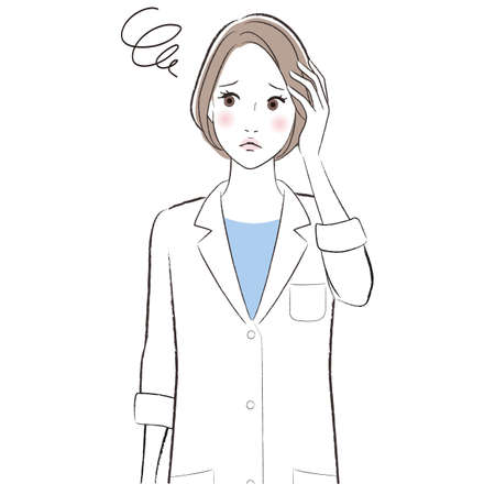 A woman doctor wearing lab coat confused and worried