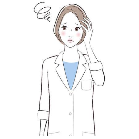 A woman doctor wearing lab coat confused and worried Vektoros illusztráció