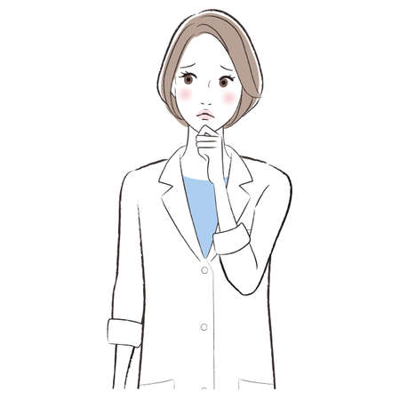 A woman doctor wearing lab coat confused