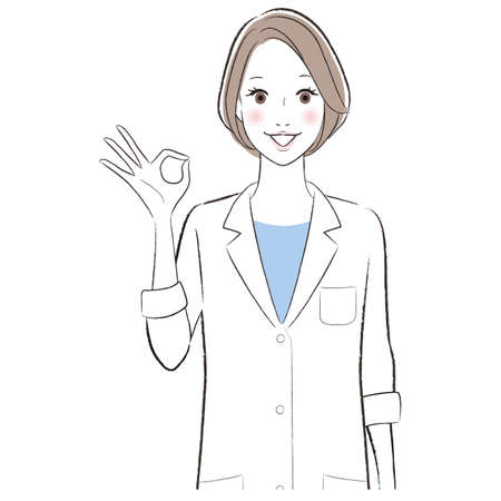 A woman doctor wearing white lab coat showing ok sign.