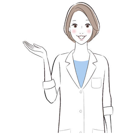A woman doctor smiling and introducing about something
