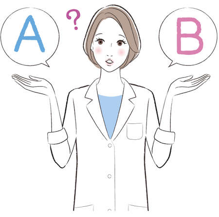 A female doctor comparing A with B 矢量图像