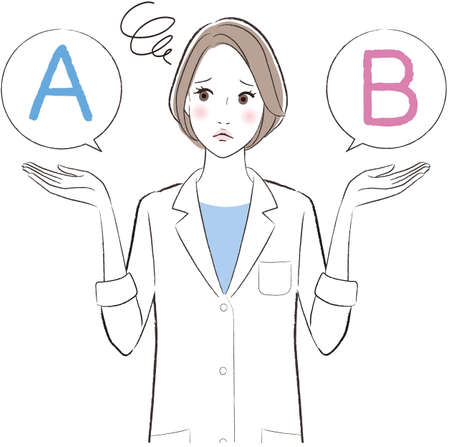A female doctor comparing A with B Vettoriali