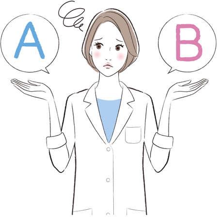 A female doctor comparing A with B Ilustração Vetorial