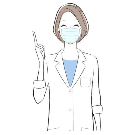 A woman doctor wearing face mask smiling and introducing 矢量图像