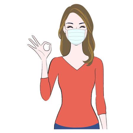 A young beautiful woman wearing face mask