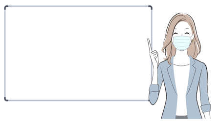 A business woman talking about something with a whiteboard