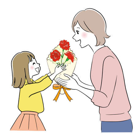 A girl giving some flowers to her mother. Illustration for Mother's day.