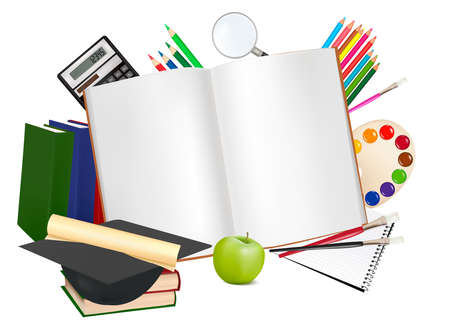 Notepad with school supplies.  Vector