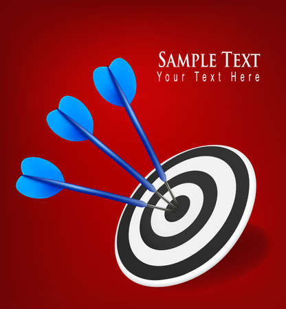 dart concept: Three darts hitting a target. Success concept.  illustration