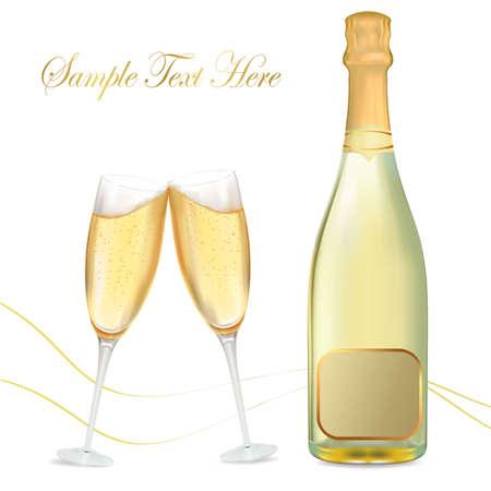 christmas drink:  illustration. Two glasses of champagne and bottle.  Illustration