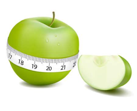 fruttosio: Mela verde misurato il misuratore, apple sport. illustrazione