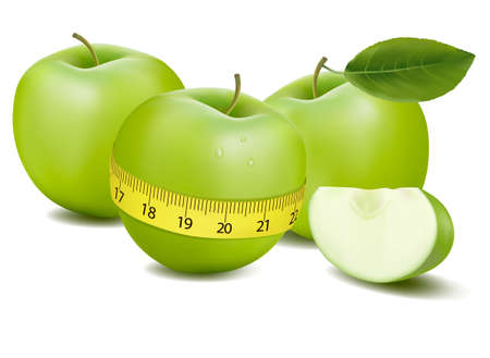 Three green apples measured the meter.   Vector