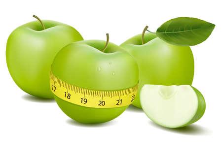 fruttosio: Tre mele verdi misurata al contatore.