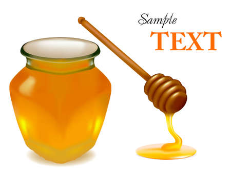 honey jar: Background with honey and wood stick. illustration.