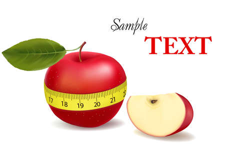 measured: Background with red apple measured the meter, sports apple (with sample text).  illustration
