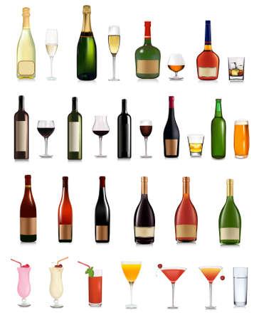 botella champagne: Super conjunto de diferentes botellas, bebidas y c�cteles.  ilustraci�n.  Vectores