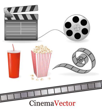 Set of cinema symbols.  illustration.  Vector