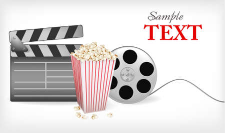 Background of movie related items. illustration.  Vector