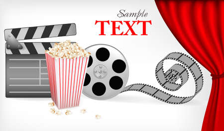 movie clapper: Background of movie related items. illustration.