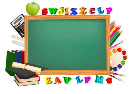 archives: Back to school. Green desk with school supplies.  Illustration