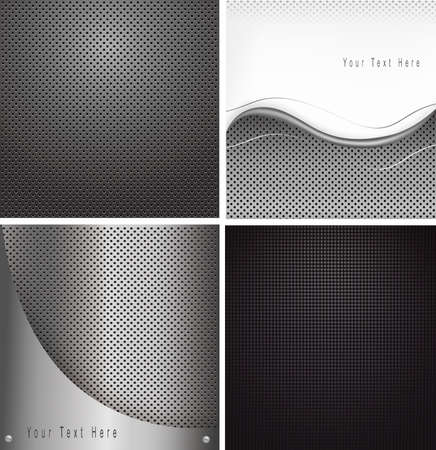 brushed aluminum background: Four metal backgrounds. illustration.