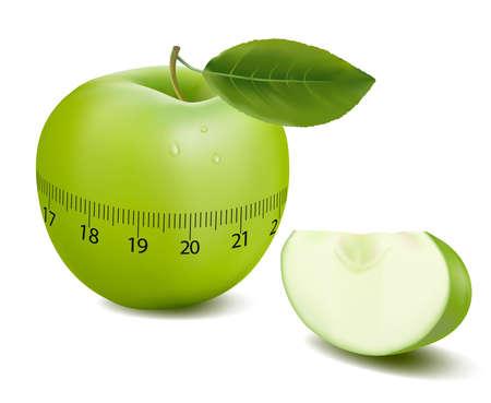 fruttosio: Green Sport apple. Concetto di duetto. illustrazione.  Vettoriali