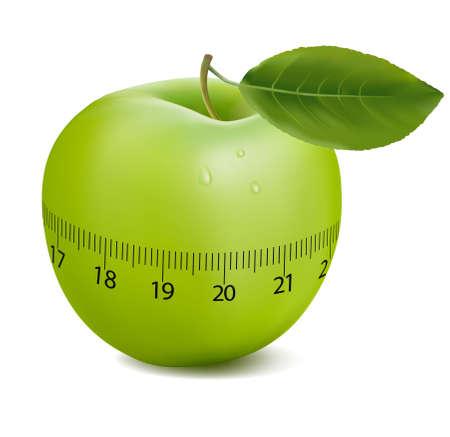 fruttosio: Sport verde mela. Concetto di duetto. illustrazione.