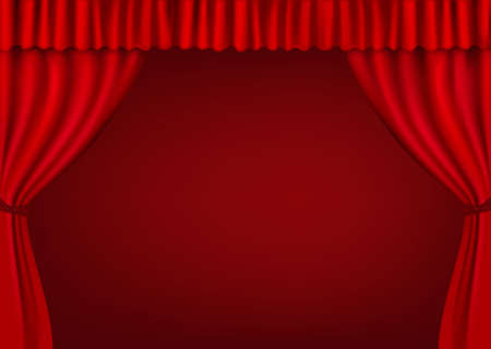 theatre audience: Background with red velvet curtain. illustration.