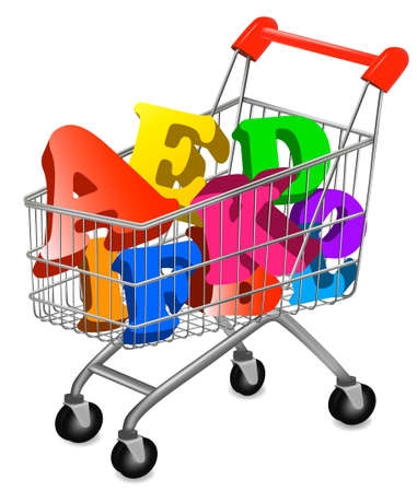 kid shopping: Shopping cart with color alphabet. illustration.  Illustration