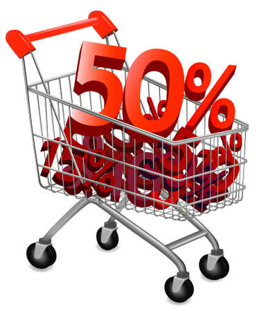 pushcart: Concept of discount. Shopping cart with sale. illustration