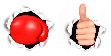 gaten: Conceptuele afbeelding van duim omhoog. Hand met duim omhoog heeft doorbroken op een papier en rode Bokshandschoen. illustratie.